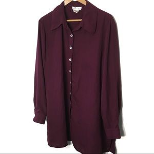 VTG Plum Wine Colored Tunic Top w/Shell Buttons